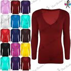 Womens Jersey Deep V Neck Slim Fit TShirt Ladies Basic Full Sleeve Stretchy Top