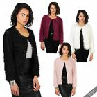 Women Tassel Fur Sequin Blazer Shrug Jacket Ladies Xmas Party Coat Wrap Cover Up