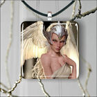ELF WARRIOR WHITE WINGS SILVER HELMET SQUARE PENDANTS SIZE M. OR L. -ftg7X