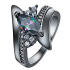 Engagement 4Size Rings Women black crystal White Gold Filled Ring Jewelry
