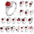 Fashion Ruby  Rings Women's 925 Silver Plated Engagement Jewelry Size 8-10