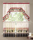 ROOSTER FRENCH COUNTRY KITCHEN 3pc. CURTAIN VALANCE Set Farm Barnyard Decor NEW
