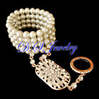 Clear Rhinestones & White Pearls Carved Rose Golden / Silver Bracelet & Ring