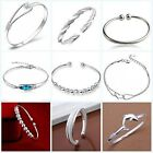 Elegant 925 Sterling Silver Women Solid Cuff Bangle Bracelet Gift Jewelry GiftHQ