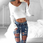 US Stock Women Casual Long Sleeve Knitted Pullover Loose Sweater Jumper Crop Top
