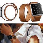 100% Genuine Leather Band Double Tour Bracelet Watchband For Apple Watch iWatch