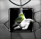 BIRD GREEN ON FINGER PENDANT NECKLACE 3 SIZES CHOICE -fht6Z