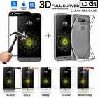 Clear TPU Gel Case + 3D Full Curved Tempered Glass Screen Protector for LG G5