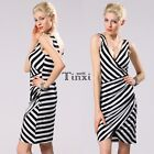Women V-neck Sleeveless Backless Bandage Bodycon Short Stripe Pencil Dress TXWD