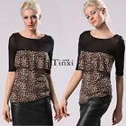 Fashion Women's Splice Mesh Shirt O-Neck Tops Sexy Casual Medium Sleeve TXWD