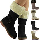 Womens Ladies Fur Lined Quilted Buckle Winter Warm Zip Mid Calf Boots Shoes Size