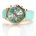 Fashion Women Stainless Steel Leather Analog Quartz Wrist Watch Bracelet Bangle