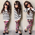 Kids Baby Girls Long Sleeve Stripe Tops+Floral Leggings 2Pcs Set Toddler Outfits