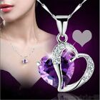 Fashion Women Heart Crystal Rhinestone Silver Chain Pendant Necklace JewelryLAUS