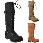 Womens Knee High Boots Lace Up Combat Leather Buckle Straps Shoes black