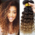 3pcs Ombre Brazilian Deep Wave Curly Virgin Unprocessed Hair Extensions 150g