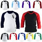 Mens Chicago White Sox 3/4 Sleeve Raglan Baseball Jersey TShirt Tee Top Ld