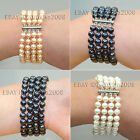 "4 ROWS 7-8MM BLACK WHITE PINK ROUND FRESH WATER PEARL BRACELET bangle 7""-9"""