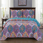 Chic Viola Oversized Coverlet Paisley Pattern Set Reversible Luxury Wrinkle Free image