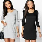 Women Fashion  Casual Loose Long Sleeve Tops T-shirt Blouse Short Mini Dress New