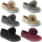 New Womens Flat Trainers Ladies Suede Pom Pom Slip On Sneakers Pumps Shoes Size