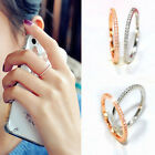 Fashion Stunning Women Lady Gold Silver Plated Crystal Wedding Ring Jewelry