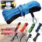 "Внешний вид - 1/4""X50', 3/16""X50' Synthetic Winch Line Cable Rope with Sheath SUV ATV Vehicle"