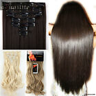 US Real as remy human Hair Extensions 16 Clips in Fake Hairpieces 7Pcs Full head