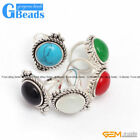 15mm Button Stone Vintage Tibetan Silver Ring Fashion Jewelry Free Shipping