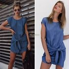 Women Mini Dress Denim Jeans Button Pocket Party Short Sleeve T-shirt Blouse Au