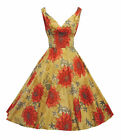 New Ladies Retro 1940's 1950's style Red Floral Full Skirted Summer Tea Dress