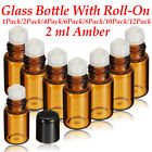 1-12pc 2ml Amber Glass Bottle Container Roll On Ball Roller Essential Perfume