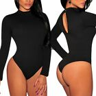 Black Womens Polo Neck Long Sleeve Backless Bodysuit Jumpsuit Leotard Top Blouse
