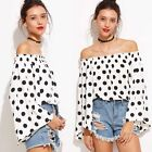 Fashion Womens Casual Long Sleeve Tops Shirt White Polka Dots T-shirts Blouses
