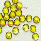 (Any SIZE) Citrine Yellow Iron On Flatback Hot fix Rhinestones Crystal Shine
