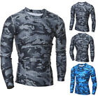 Mens Casual Long Sleeve Quick Drying Camo T-Shirt Breathable Sports Gym Tee Tops