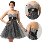 Women Sexy Beaded Short Mini Homecoming Dress Cocktail Party Prom Evening Gowns