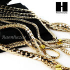 """Heavy Miami Cuban Yellow 14k Gold Plated 5 To12mm, 8"""" 20"""" 24"""" 30"""" Chain Bracelet"""