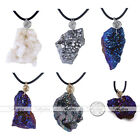 1pc Natural Irregular Geode Plating Stone Pendant Black Rubber Necklace Jewelry