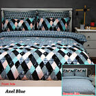 3 Pce Axel Blue Reversible Quilt Doona Duvet Cover Set by Apartmento QUEEN KING
