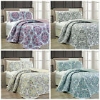 3pc REVERSIBLE Multi-Color Mandala Medallion Quatrefoil Quilted Coverlet Set image