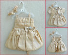 MB Adorable Gold taffeta summer spring baby toddler flower girl party dress