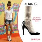 CHANEL 14S Black Patent Leather Knit Sock Booties Boots Heels Pumps Shoes $1095