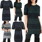 Womens Ladies Marl Knitted Short Sleeve Round Neck Long Tunic Jumper Mini Dress