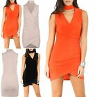 Womens Asymmetric Wrap Over Ladies Choker Neck Drape Ruched Bodycon Midi Dress