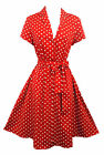 New Rosa Rosa Red Polka Dot WWII 1940's Vtg style classic Shirt Swing Tea Dress