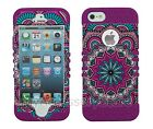 iPhone SE 5s 5 Pink Hearts Tribal RKR Hard&Rubber Rugged Armor Phone Case Cover