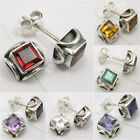 925 Silver SMALL Stud Post Earrings ! MOONSTONE & Other Gemstones Of Your Choice