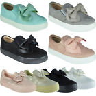 Kyпить New Womens Ladies Trainers Shimmer Slip On Flat Bow Sneakers Pumps Shoes Size на еВаy.соm