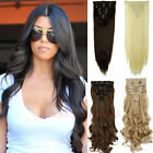 Extra THICK Clip In Hair Extensions Full Head curly straight 8 piece as human HG